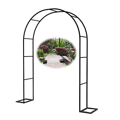 Gnova Arco de Boda de Hierro Pérgola de jardín,Ancho 1.4m,1.8m,2m,2.4m,3m,3.5m,Soporte de Marco de Flores,Curvado,Resistente,para Enredaderas