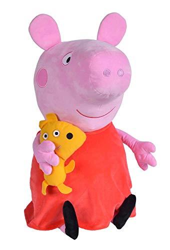 Simba 109261007 - Peppa Pig Plüschtier, 50cm, mit Plüschhund, Kuscheltier, Peppa Wutz, Schweinchen, ab den ersten Lebensmonaten geeignet