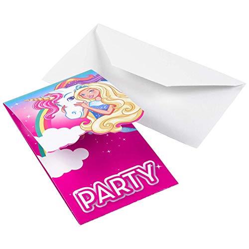 Amscan 9902530 - Einladungskarten Barbie, 8 Stück, Größe 8,2 x 14 cm, Karten mit weißen Umschlägen, Einladung, Dreamtopia, Einhorn, Regenbogen, Geburtstag, Mottoparty, Party, Prinzessin, Karneval