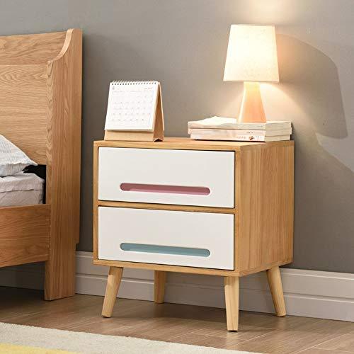 FENXIXI Mesita de noche de madera maciza de los muebles del dormitorio de la mesita de noche, mesita de noche del diseño del cajón doble de la mesa