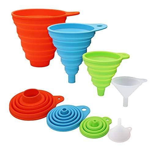Juego de embudo plegable de silicona, 4 tamaños diferentes, grandes, medianos pequeños y mini embudos para uso en cocina, alimentos..