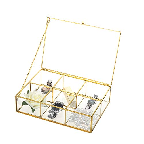 FeyarlGoldClear Glass BoxMetal Jewelry TrinketShadow Box Counter Top CollectionDisplay CaseHolder6 CompartmentDecorative Box Tea Bags Box Makeup Organizer with Lid
