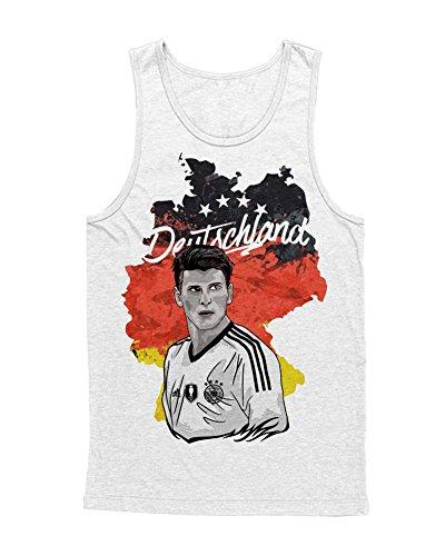 Hypeshirt Tank-Top Deutschland Mario Gómez Fußball EM Europa Meisterschaft UEFA Euro 2016 Trikot M161602 Weiß L