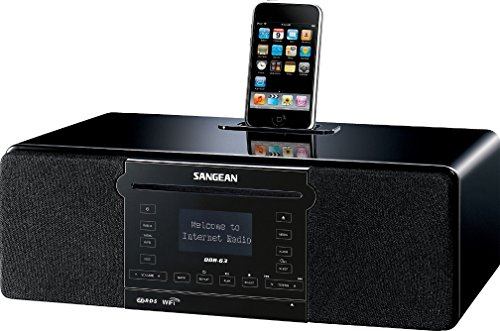 Sangean DDR-63 WiFi Internet Radio/FM-RBDS/Aux-in/CD/USB/SD All-in-One Tabletop Wooden Cabinet Musical System Compatible with iPod, Black, WiFi Internet Radio/FM-RBDS Waveband