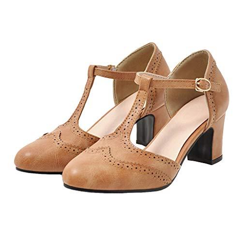 T-Strap Pumps mit Blockabsatz und Riemchen Chunky Heels Oxford Schuhe (Hellbraun,39)