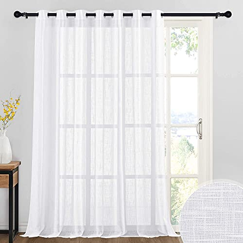 RYB HOME White Curtain Sheers - Linen Texture Large Window Curtain for Patio Sliding Glass Door Extra Wide Semi-Transparent Privacy Shades for Living Room Bedroom Sunroom, 100 x 95 inch