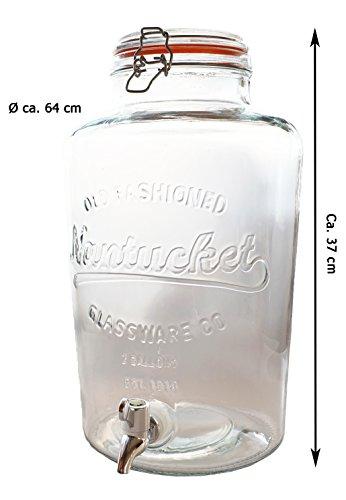 Riyashop Saftspender aus Glas mit Zapfhahn 8,5 L Wasserspender Getränkespender Landhaus (1 x)