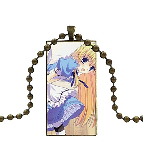 Collar de cabujón de Cristal de Moda de Alicia en el país de Las Maravillas con Colgante de declaración para Mujer, Collares rectangulares, joyería para niñas