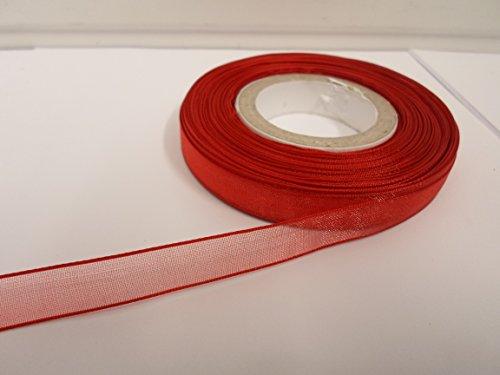 Beautiful Ribbon 1 Rouleau de Ruban en Organza 9mm Pure x 25 mètres Rouge Double Face faveurs 9 mm