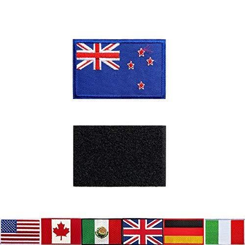 2 Stück taktische Aufnäher Stickerei neuseeländische Flagge Neuseelands, für Rucksäcke, Jacken, Hosen, bestickte Armbänder der Militär-Armee-Uniform-Embleme, ideale Dekoration.