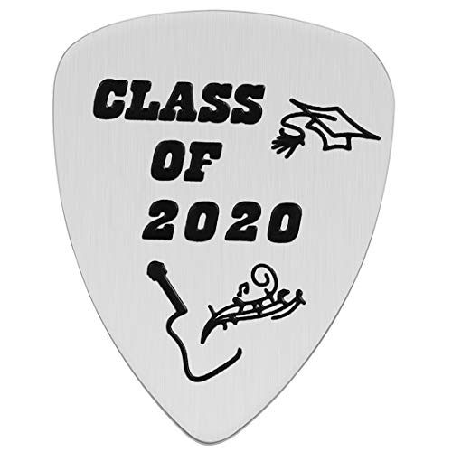 Graduation Gift - Stainless Steel Class of 2020 Guitar Pick for Graduates Musician Gifts