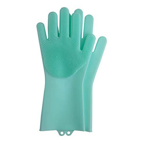 YQ&TL Gants en Silicone pour Lave-Vaisselle Brosse à Bol Artefacts Gants en Caoutchouc pour Cuisine Nettoyage résistant à la Chaleur antidérapant réutilisable Imperméable, Vert