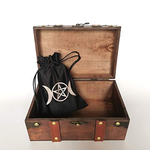 8.3' Wood and Leather Altar Box and Wicca Supplies Set, Hecate Wheel Engraved Wooden Wicca Box, Velvet Lining Vintage Tarot Box (Box and Bag)
