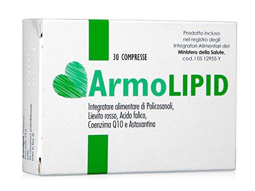 Armolipid integratore alimentare con Policosanoli, Riso rosso fermentato, Acido folico, Coenzima Q10 e Astaxantina 30 compresse