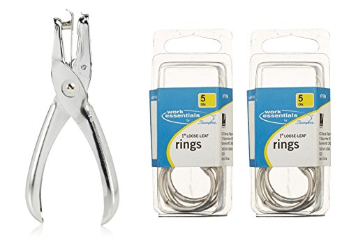 """Swingline 1 Hole Punch, 1/4"""" Holes, Hole Puncher, 5 Sheet Punch Capacity, Classic, Chrome (A7074005) and Swingline 1 Inch Loose Leaf Rings, 10 Count (S7071764)"""