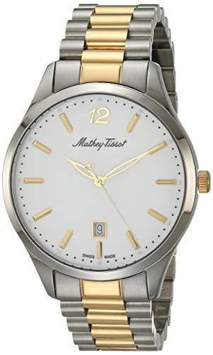MATTHEY-TISSOT Correa de acero inoxidable de cuarzo para hombre, multicolor, 20 reloj casual (Modelo: H411MBI)