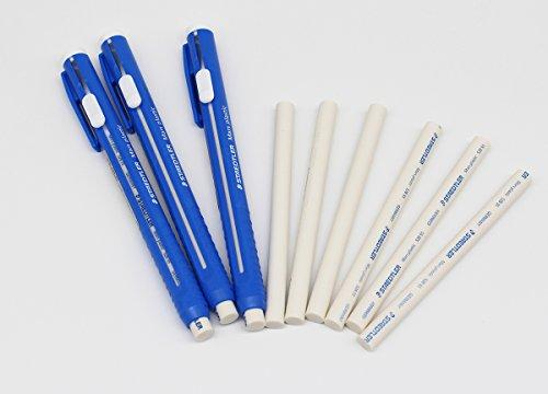 STAEDTLER Stick Eraser Set - Mars plastic 528 50 Pen Shape Eraser 3set + Refills 6pieces / Solid eraser with little residue/Length adjustable body/German brand