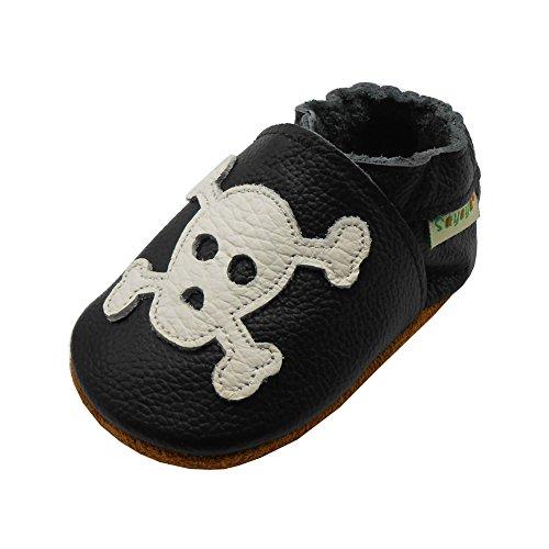 Sayoyo Babyschuhe aus weichem Leder mit Totenkopf für Kinder Jungen und Mädchen, Schwarz - Schwarz - Größe: 21/22 EU