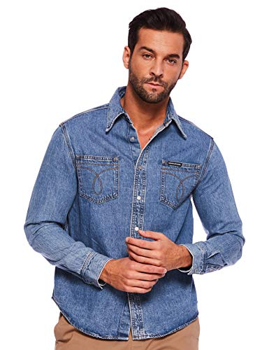 Calvin Klein Jeans Herren Hemd Utility Omega Blue Denims