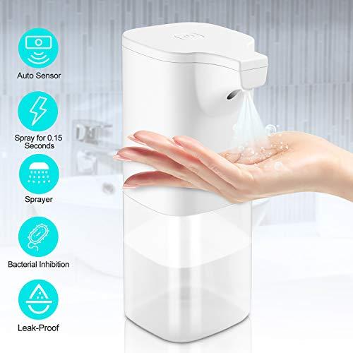 GEEMAI Automatisch Desinfektionsspender Automatisk Sprühspender mit Sensor Elektrischer Seifenspender für Küchen und Badezimmer Waschraum/öffentlicher Ort 350ml klar Flasche, Weiß