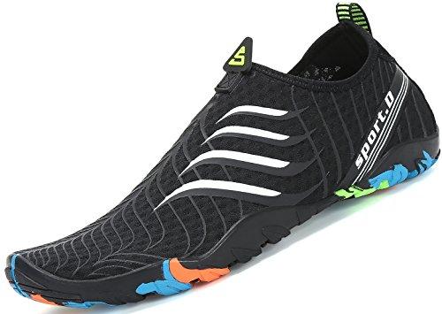 Zapatos de Agua para Buceo Snorkel Surf Piscina Playa Vela Mar Río Aqua Cycling Deportes Acuáticos Calzado de Natación Escarpines para Hombre Mujer Negro, 40 EU