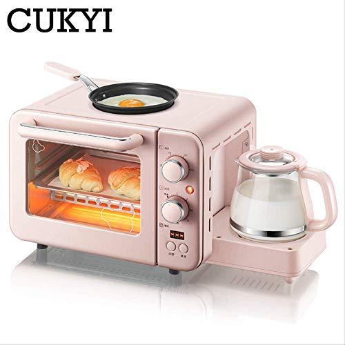 CUKYI Multifunktions 3 in 1 Frühstücksmaschine 8L Elektrischer Mini-Ofen Kaffeemaschine Eier Bratpfanne Haushaltsbrot Pizzaofen Grill