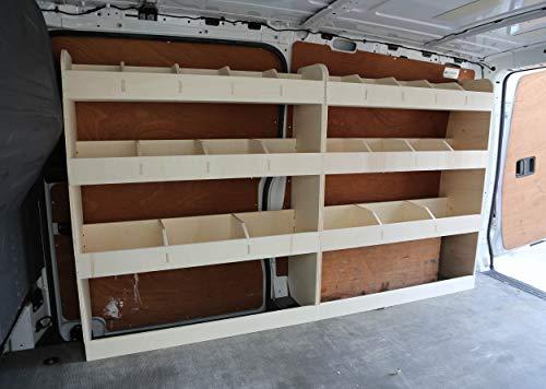 Van-Regal für Mercedes Vito LWB Fahrerseite vorne, abgewinkelt, Leichtbauholz, Regalsystem, Werkzeugregal