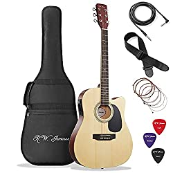 Best Acoustic Electric Guitar under 200 US Dollars - Jameson Guitars Natural Finish Fullsize Thinline Acoustic Guitar