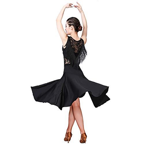 Loveablely Damen Dancewear Quaste Spitze ärmelloses Latin Samba Rumba Tango Tanzkleid