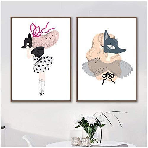 Cartoon Meisje Vos Masker Muur Kunst Canvas Schilderen Modulaire Afbeeldingen Noordse Moderne Poster Prints voor Woonkamer Huisdecoratie -50x70cmx2 stks (geen Frame)