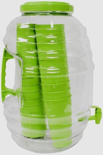 American Made P-03240 American Maid 5 gallon GREEN Vitrolero Beverage Dispenser W/Tumblers Inside, 5 gal