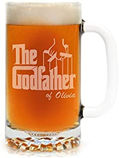 Godparent Baptism Gifts - Premium Etched Personalized Godfather Movie Engraved Logo Beer Stein