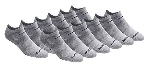 Saucony Men's Multi-Pack Mesh Ventilating Comfort Fit Performance No-Show Socks, Grey (12 Pairs), Shoe Size: 8-12