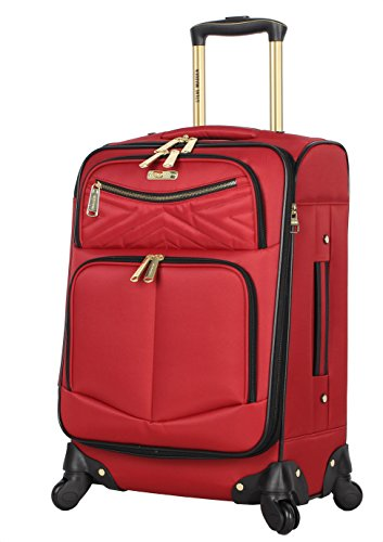 Steve Madden Designer Luggage Collection - Lightweight Softside Expandable Suitcase for Men & Women - Durable 20 Inch Carry On Bag with 4-Rolling Spinner Wheels (Rockstar Red)