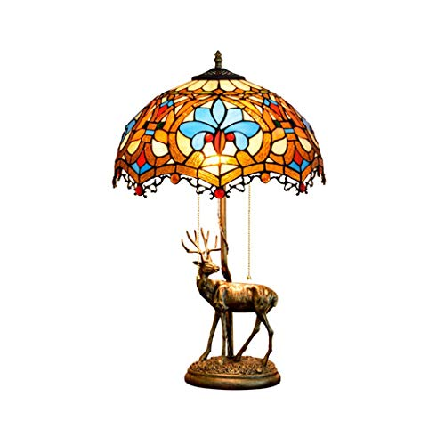 ZJRHM glazen tafel in Tiffany-stijl, lampen, roestvrij staal, lampenkap, antiek-look, voor woonkamer, slaapkamer, nachtkastje, bureaulamp, 40 cm