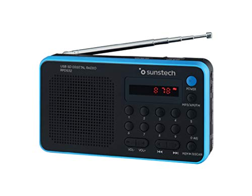 Sunstech RPDS32BL - Radio portátil digital (AM/FM, USB, SD, MMC, 1.5 W), color azul
