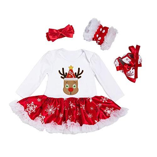BabyPreg niño recién Nacido del bebé de Santa Primera Fiesta Mi Trajes de Navidad Vestido 4 Piezas (9-12 Meses, Oveja)