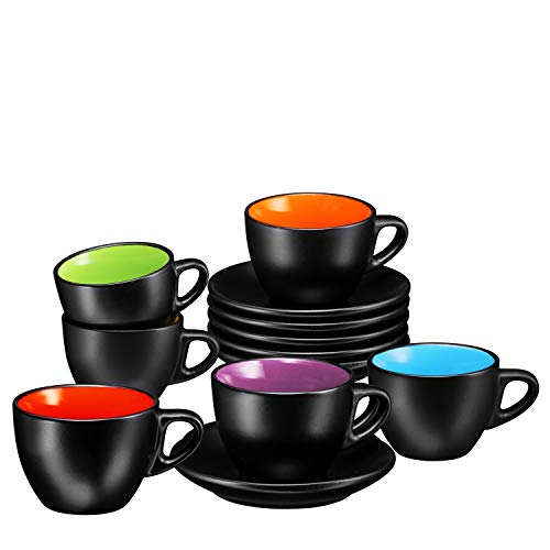 Espresso Cups with Saucers by Bruntmor - 6 ounce - Set of 6 (Matte Black, 6oz)