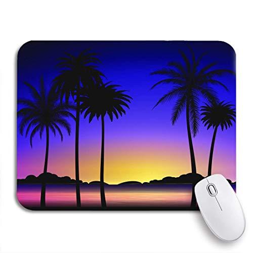 VICAFUCI Mauspad,rechteckig,Anti-Rutsch-Mauspad,Gelbe Goa Silhouette von Palmen Bunter tropischer Sonnenuntergang,Maus,Computer,Mausunterlage,Unterlage,Schreibtisch,Schreibtischunterlage