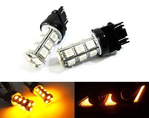 2 x Amber 182 P27W 180 P27/7W PY27/7W cuña Bombilla LED Luz lateral Indicador de giro de la señal de la cola parada luz diurna DRL