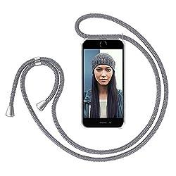"""ZhinkArts Handykette kompatibel mit Apple iPhone 7/8 / iPhone SE (2020) - 4,7"""" Display - Smartphone Necklace Hülle mit Band - Handyhülle Case mit Kette zum umhängen in Grau"""