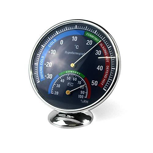 Ytian Thermo-Hygrometer Präzisions-Hygrometer Aussen Edelstahl, Loch Edelstahlkörper für feuchte Umgebung Innen/Aussen für Terrasse, Zum Hängen oder Stellen