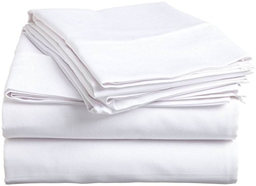 Max 4 Peices Duvet Cover Set UK Caesar Size- In White Solid 100% Cotton 600 Thread Count 35 CM Deep Pocket