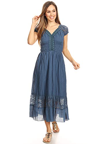 ANNA-KACI Blau Kleine Größen Smock Taille Sommer-Maxi Kleid mit Flügelärmeln Boho Gypsy