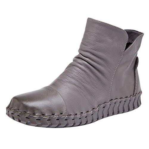 MatchLife Damen Vintage Leder Plissée Stiefel Kurze Boots Style1 Velvet Grau EU38/CH39