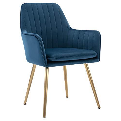 Golden Beach Velvet Mid-Back Accent Chair