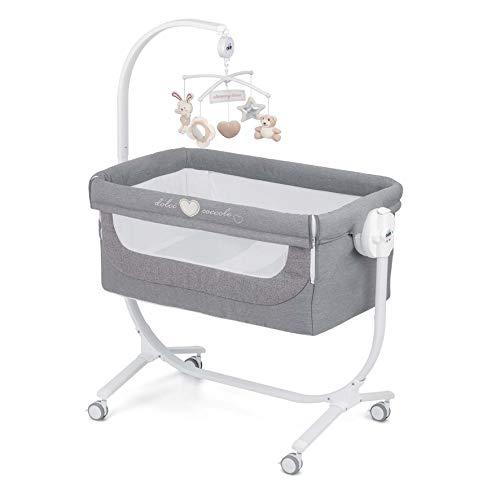 CAM 2 in 1 Beistellbett & Babywiege CULLAMI | höhenverstellbares Babybett | praktisch & schön| hochwertige Materialien - Made in Italy | flexibler Stubenwagen (Herzchen Grau)