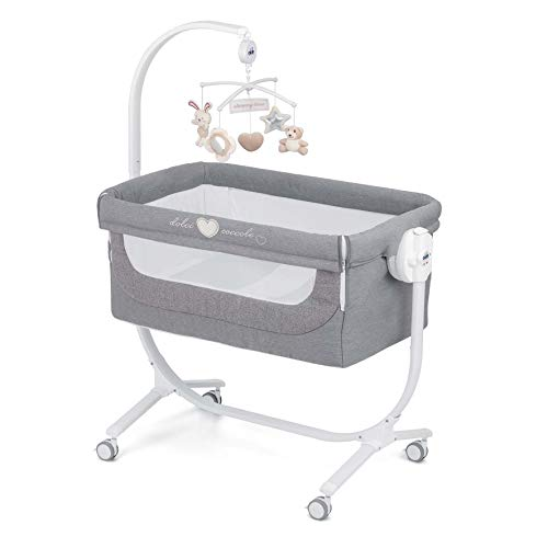 CAM 2 in 1 Beistellbett & Babywiege CULLAMI | praktisch & schön | Babybett 8 Höhenpostionen | Roll- & Wiegefunktion | hochwertige Materialien - made in Italy (Dolci Coccole, grau)