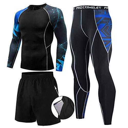 Conjunto de ropa de gimnasio para hombre de 3 piezas, conjunto de compresión para hombre Conjunto de ropa de fitness para gimnasio, conjunto de capa base para entrenamiento de gimnasio-Color 4_XXXL