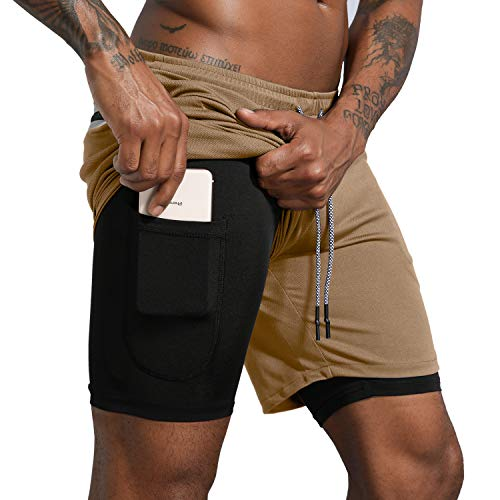 Leidowei Men's Workout Running Training 2 in 1 Gym Shorts with Zip Pockets Compression Shorts Khaki M